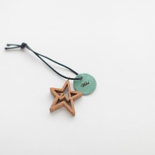 Custom Gifts Wood Handmade Star Shape Leather Lettering Charm/Necklace