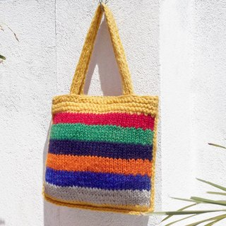 Limited amount of a pure wool wool hooks light bag / handbag / side bag / shoulder bag / travel bag / Tote bag / shopping bag - rainbow color palette colorful stripes geometry