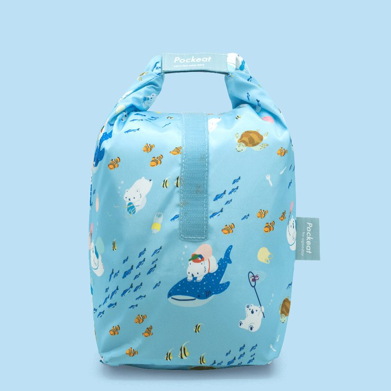 Good day | Pockeat green food bag (big food bag) - white and sea