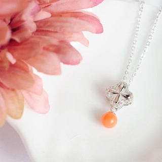 Belle blossoming cross petals pink coral beads 925 silver enamel chain