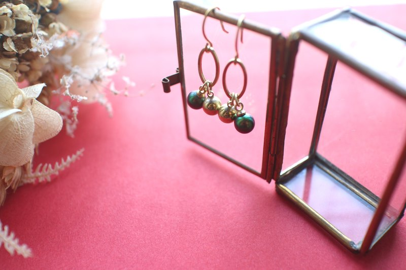 Forest elf-Brass zircon earrings