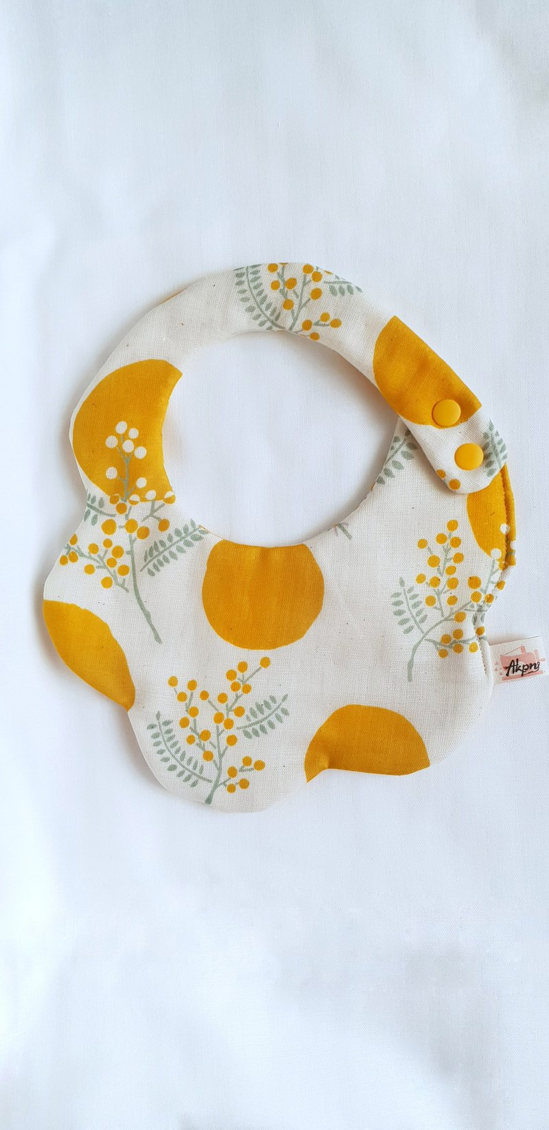 Elegant flowers / Mustard Yellow / Eight Layers 100% cotton double sided bib. Saliva towel