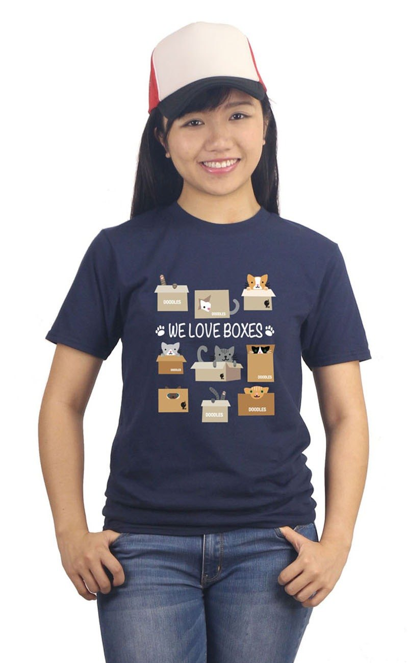 "Army blue cotton ""skin the cat love lovely pick box WE LOVE BOXES"" T-Shirt"