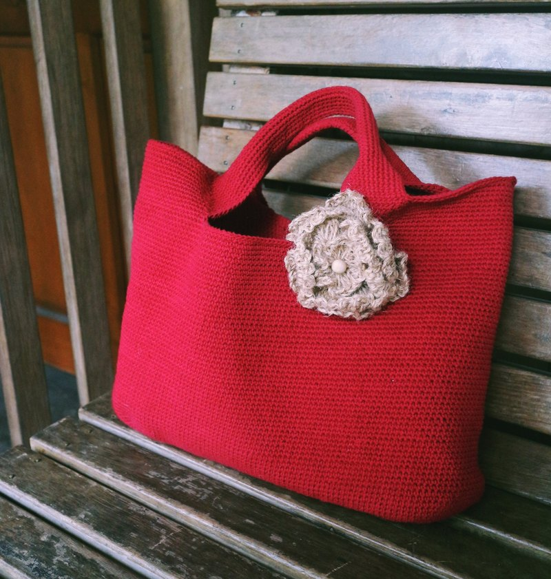 Handmade - Extremely Simple Tote - Warm Hand Braided Forest Cotton Rope Bag