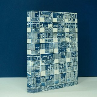 Hong Kong West Village dense scenery white hand account blue and white law size checkered watercolor pen pen apply