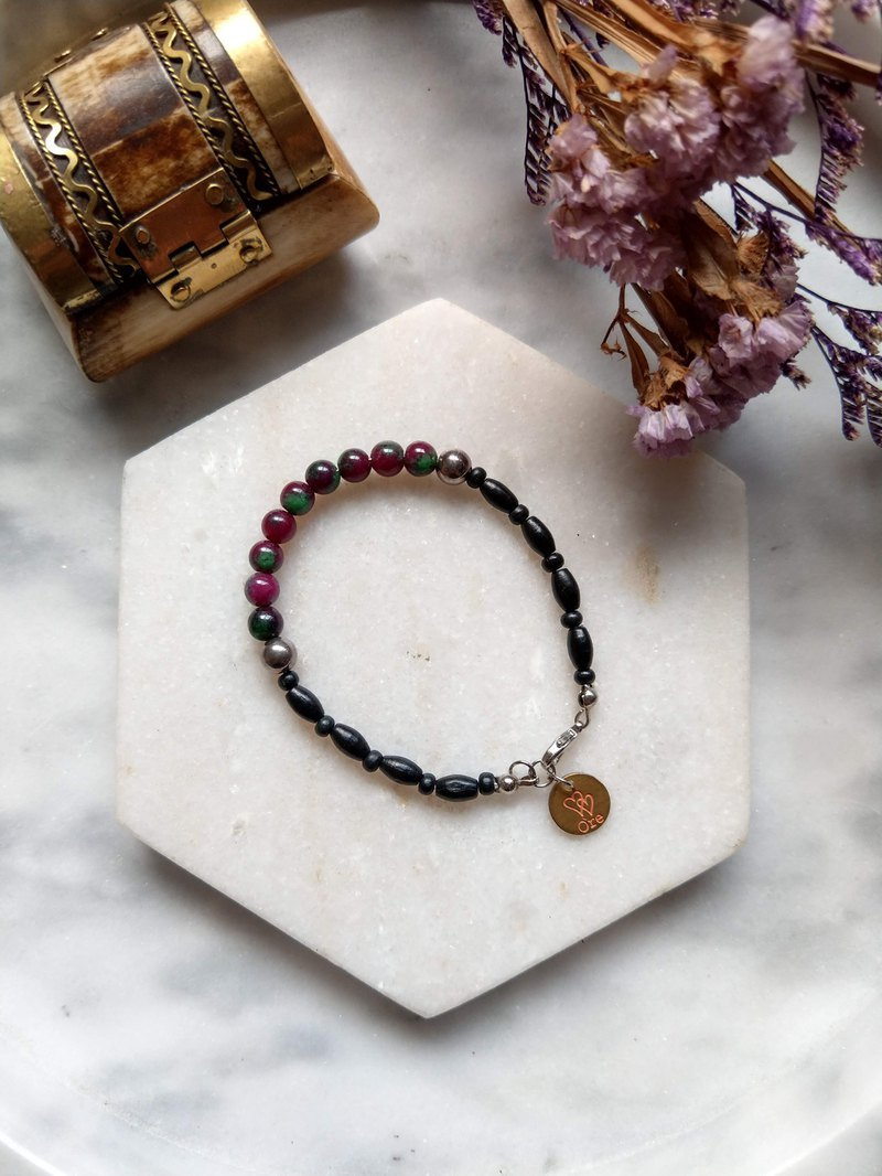 Oˋre Silver bracelet series wax rope bracelet natural stone section 17 with designer exclusive wooden box