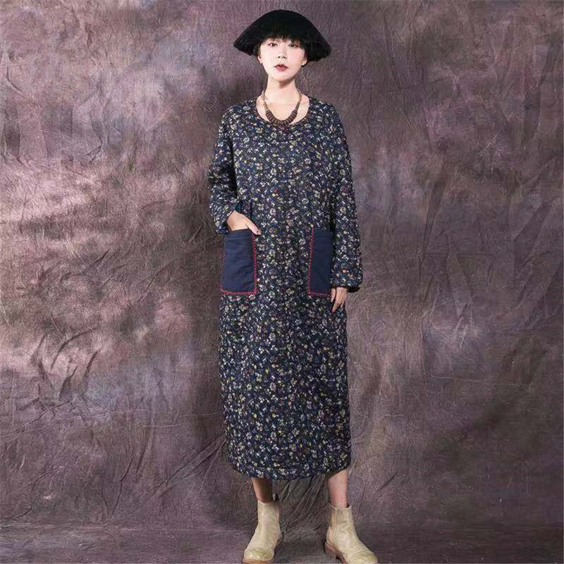 Autumn and winter vintage cotton and linen Zen robes Chinese style literary thick quilted hand-embroidered dress