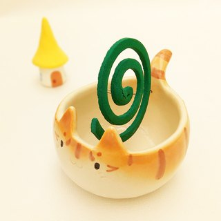Mosquito coil holder of cat shape with glaze #1 ceramic item