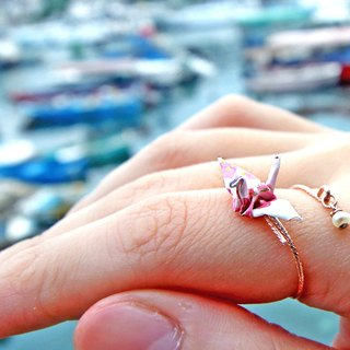 Mini cranes Pearl Ring (White cherry hearts) - Valentine's Day gift