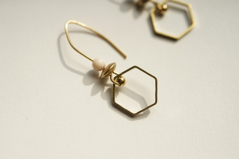 Good luck [砗磲 brass earrings] ear hook l ear clip