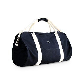 Canvas travel duffle bag - NAVY- white straps