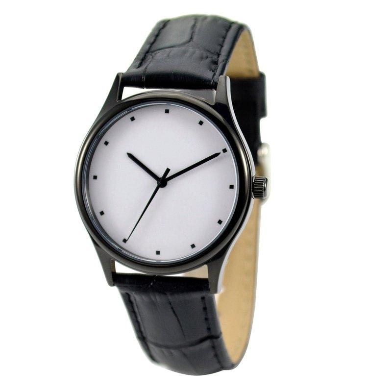 簡約手錶(方點)黑殼 - 中性 - 全球免運
