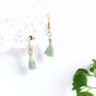 Handmade Tassel Earrings Earclips Rose Gold Series-light green limited