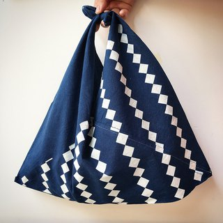 [Fasti] when old age] vegetation dyed cotton bag discharge Indigo blue dye - Lingge stripes
