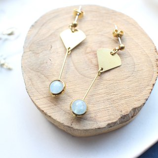 Sweet blue-Aquamarine brass earrings
