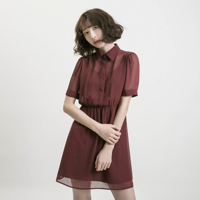 [Classic original] Chiffon_ fog flower spinning mosaic dress_CLD003_brick red