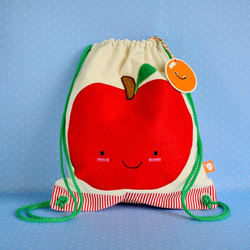 Little backsack with a big apple embroidery - Christmas gift