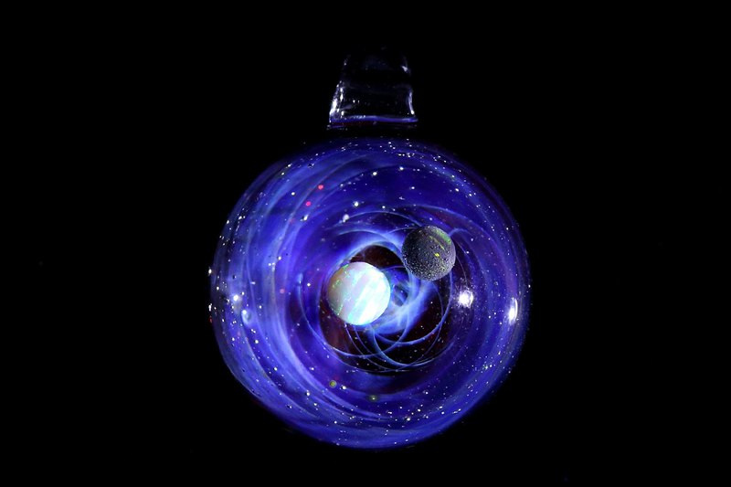 SPIRAL GALAXY 2 opal space glass pendant no.816