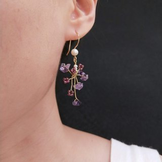 earring. Irregular amethyst*red garnet*pearl earrings earrings (can be clipped)