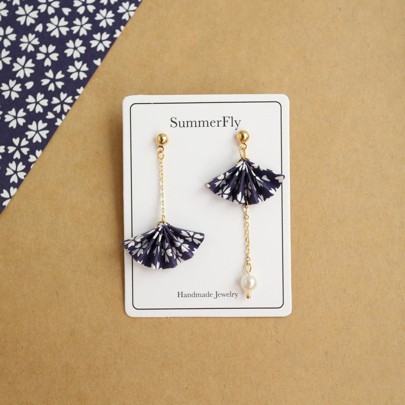 Origami folding fan blessing dark blue cherry blossoms Asymmetry drop earrings