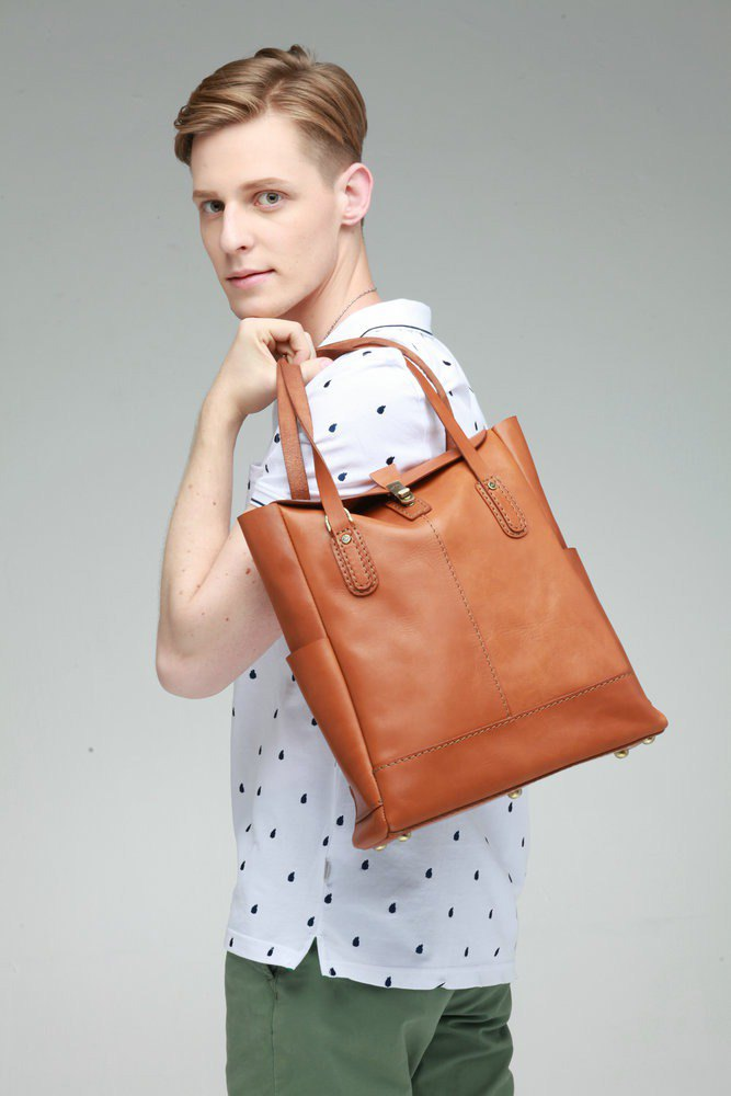 JIMMY RACING leather carrying shoulder tote bag - camel 0302180