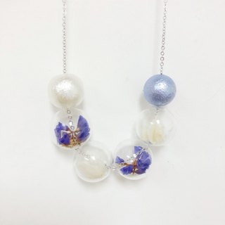 Preserved Flower Purple Necklace