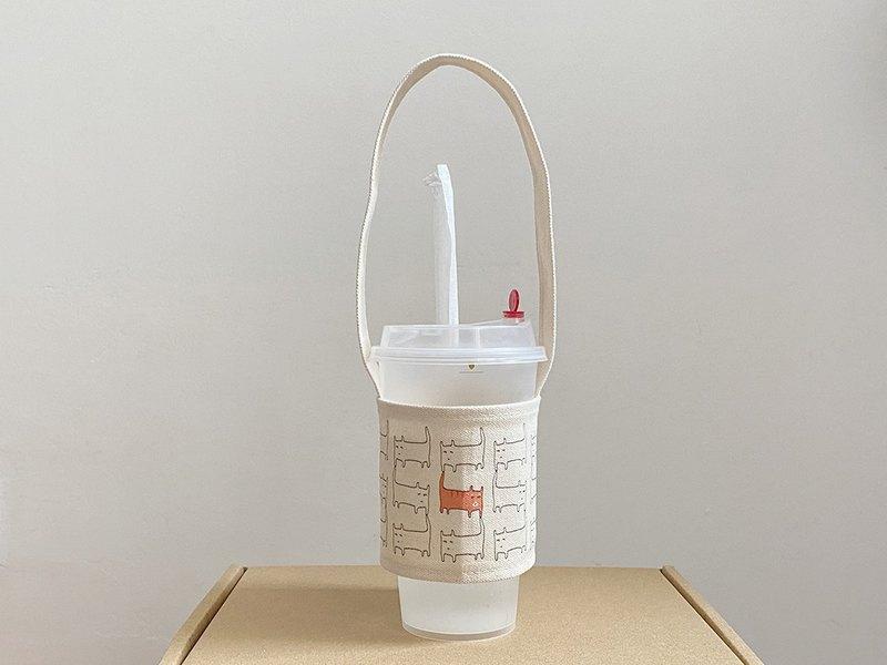 環保帆布水壺袋 貓咪飲料提袋 手提袋 奶茶杯袋