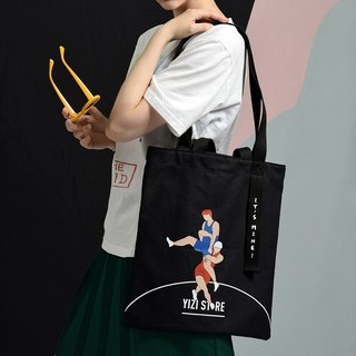 YIZISTORE sports shoulder bag female large capacity shopping bag canvas printing personalized backpack
