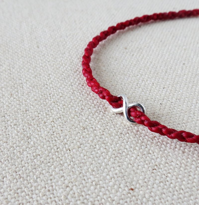 Sterling Silver*Fashion Lucky Wish [Love ‧ Unlimited] Silk Wax Bracelet [2]*** [Four Strands] ~