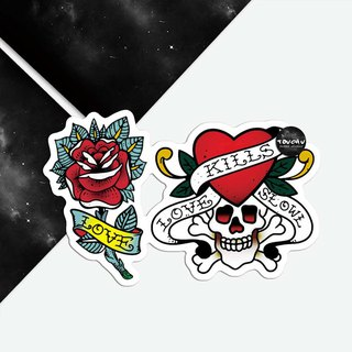 TU Tattoo Sticker -Rose and skull bone   waterproof Tattoo  original