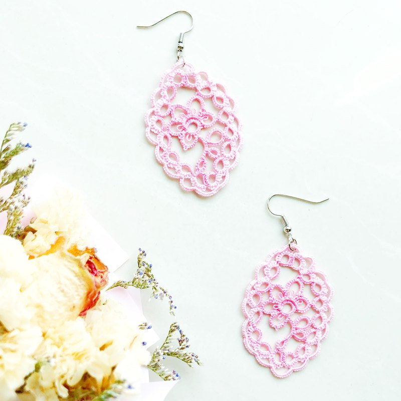 [Customized] Lace Rose Earrings Pink Shuttle Lace Rose Tatting Earrings