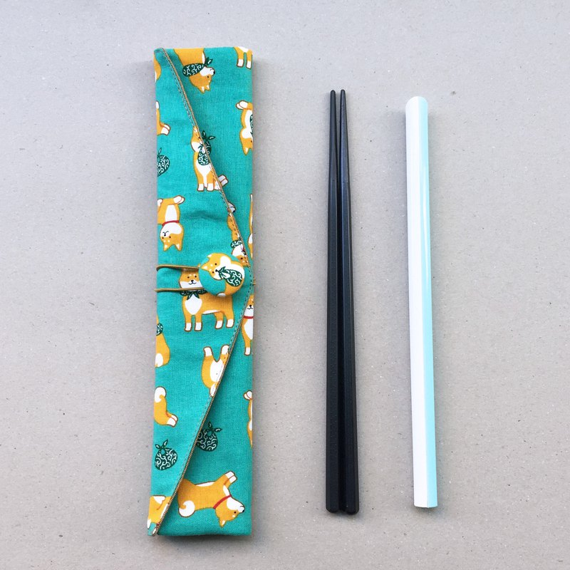 Adoubao-Chopsticks set with bag straw bag - light blue green & bag towel Shiba Inu