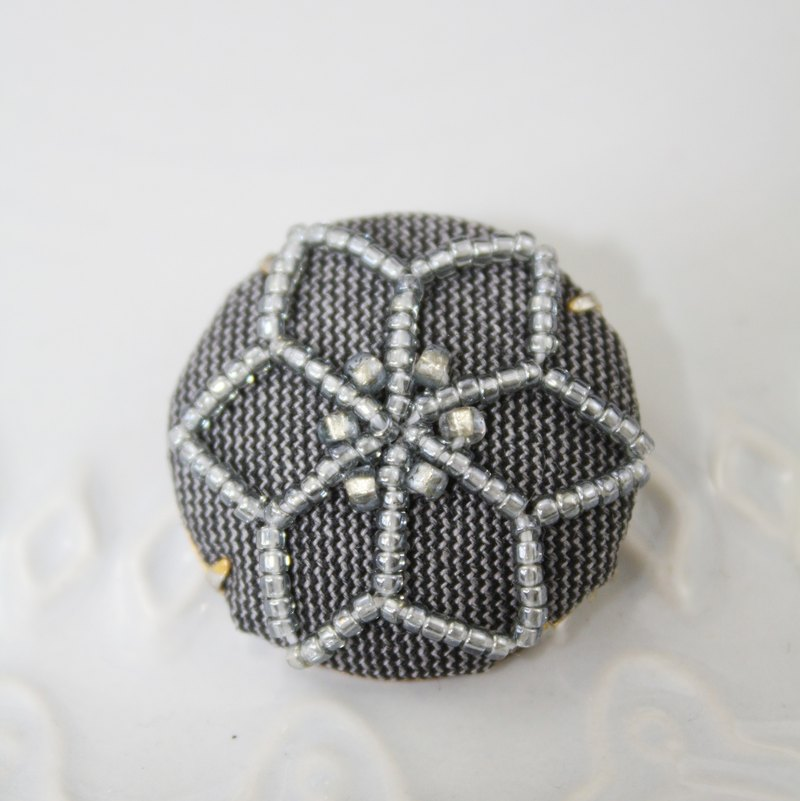 Handmade Beaded Geometry Motif Brooch, Handmade Beaded Geometry Motif Pin