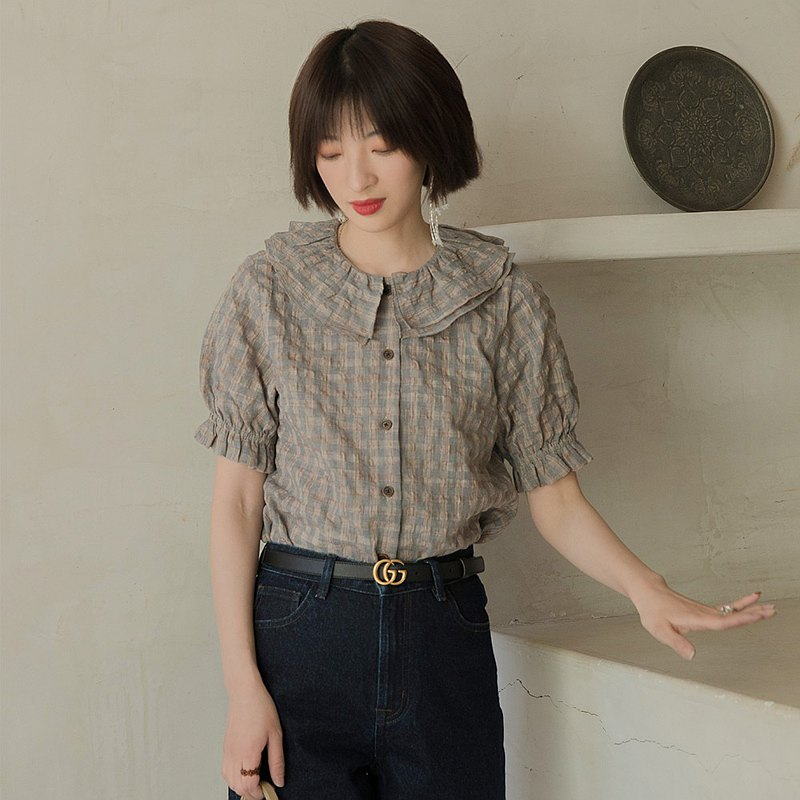 College style double petal collar shirt-gray blue | shirt | spring | cotton + polyester | Sora-454