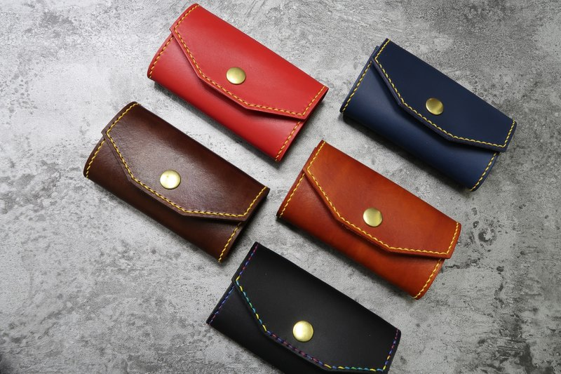 【Mini5】鑰匙包/黃銅排釦 (紅色)