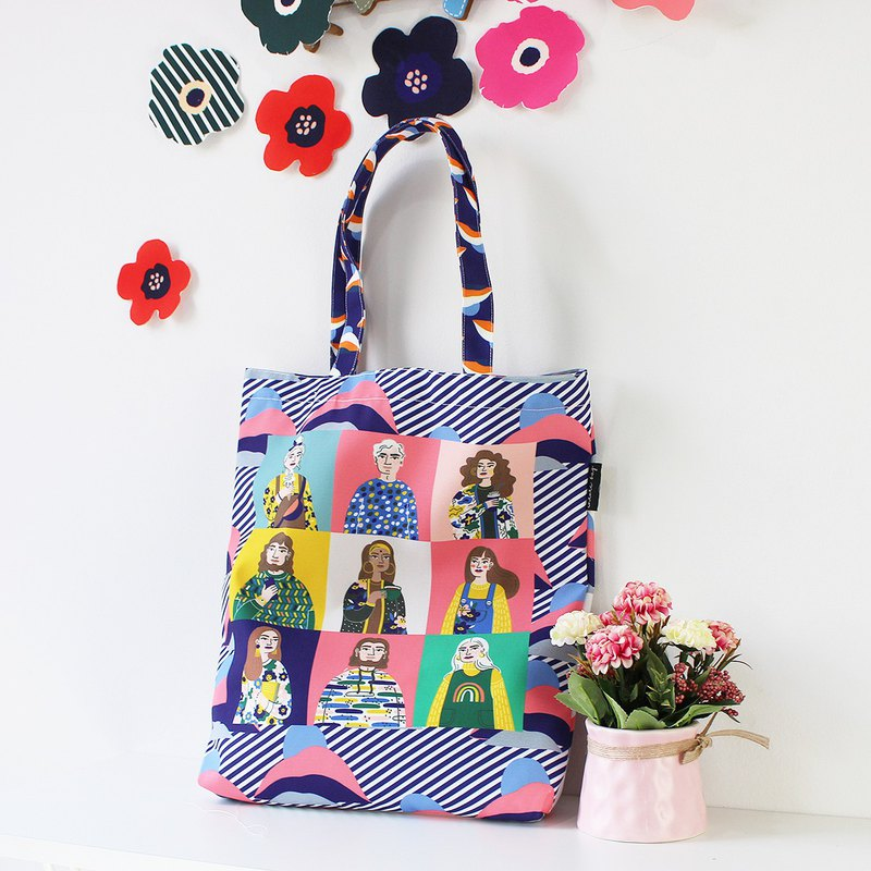 2 WAYS COLOR canvas tote bag, Flower tote bag, Shopping bag