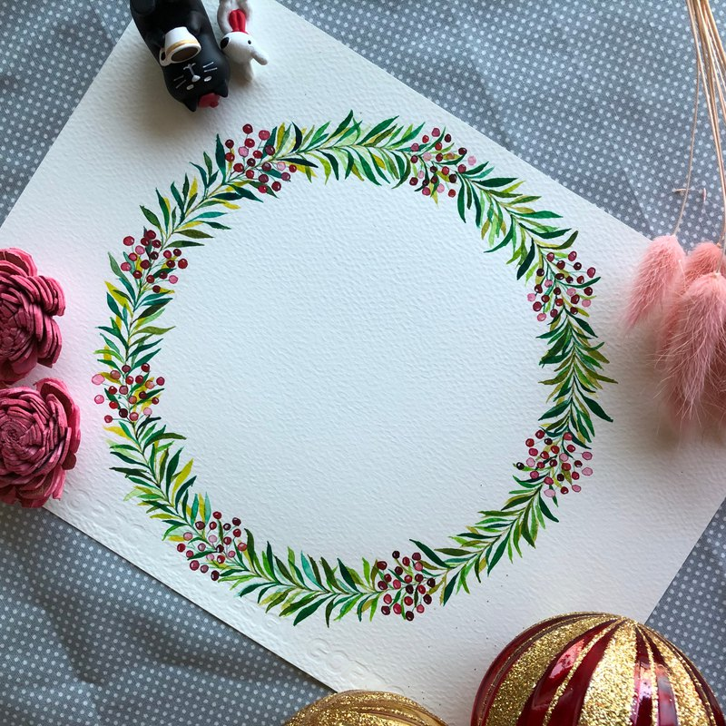 Hand painted watercolor healing wreath original painting -003