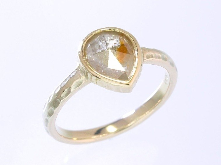 Japan Quality | 0.91 c Natural Diamond Solitaire Ring Apricot 10 K YG