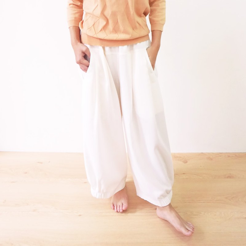Harmony yarn pleated trousers - White