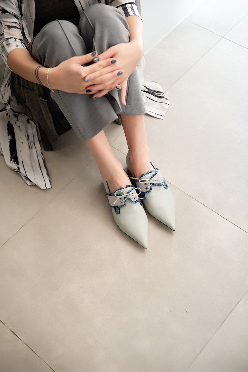 Different material splicing fur oxford shoes light gray