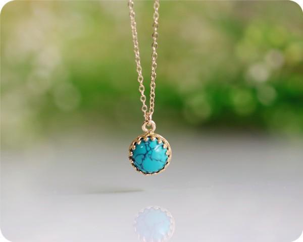 Natural Green Turquoise Bezel Necklace Life Support Stone December Birthstone