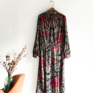 River Water - Nara Fall full version of the flower log small collar antique two-piece cotton dress overalls oversize vintage dress