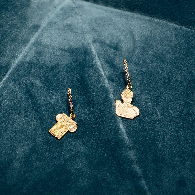The Statue Earrings set-Hermès and Ancient Greek Pillar Statue