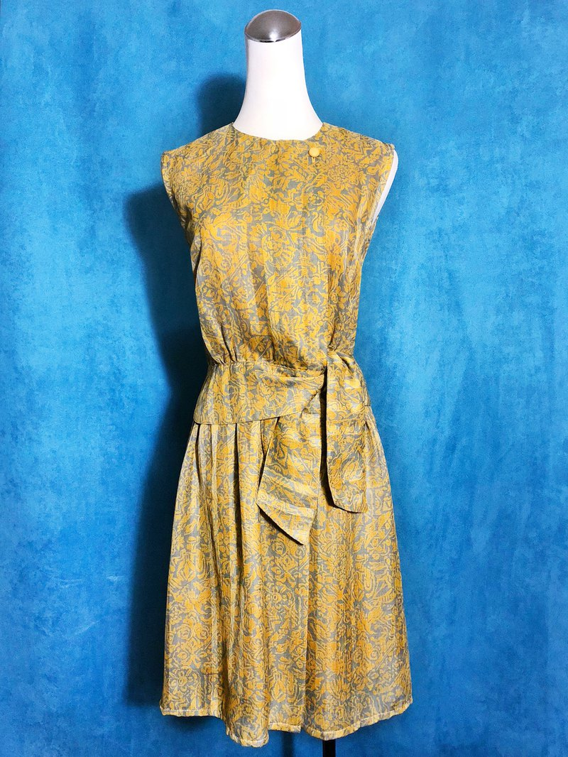 Totem Textured Strap Sleeveless Vintage Dress / Bring back VINTAGE abroad