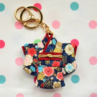 Pocket kimono key ring - blue flowers