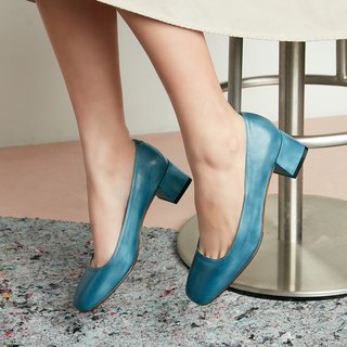 H THREE Classic Square Heel Shoes / Lake Blue / Thick Heel / Vintage