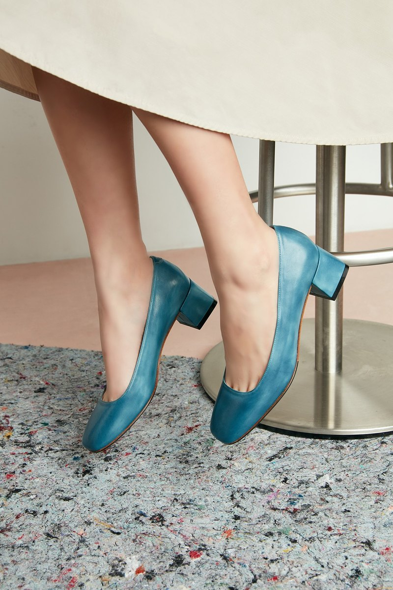 HTHREE Classic Square Heel Shoes / Lake Blue / Heel Shoes / Square Toe Heels