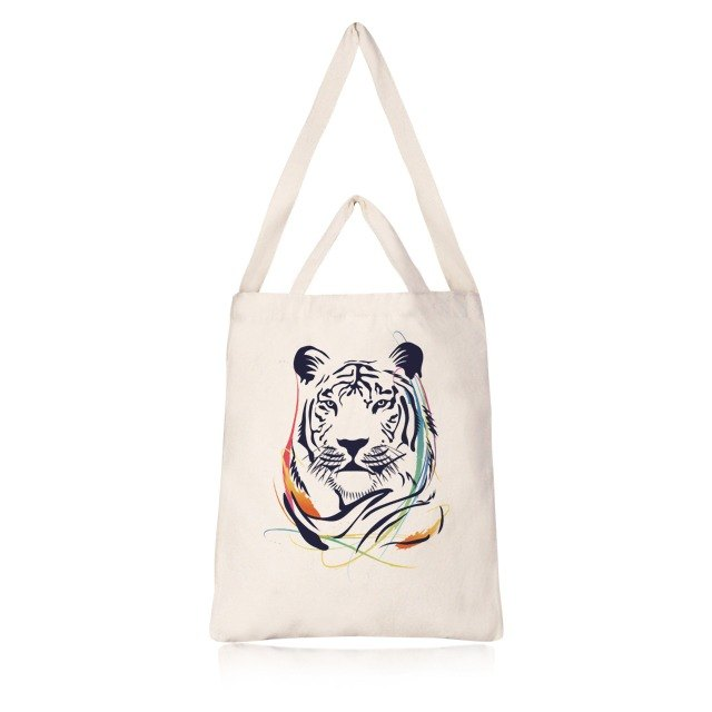 New tiger painted ‧ straight canvas bag