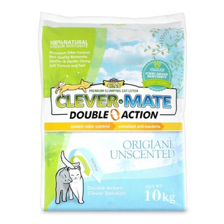 Clever cat litter 100% natural bentonite + deodorizing + antibacterial Double Action double powerful 10 kg (tasteless)