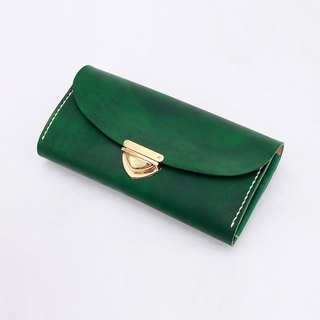 [Cut line] leather handmade organ wallets / large capacity ladies retro long folder 006 buckle hand pocket peacock green